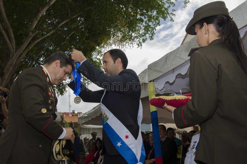 Bolivarian venezuelano generale nella battaglia di atto del Carabobo immagini stock libere da diritti