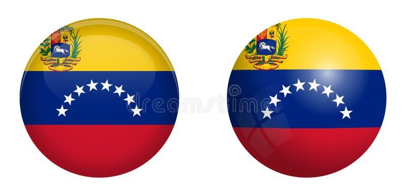 Bolivarianska republiken Venezuelaflagga under knappen för kupol 3d och på glansig sfär/boll vektor illustrationer