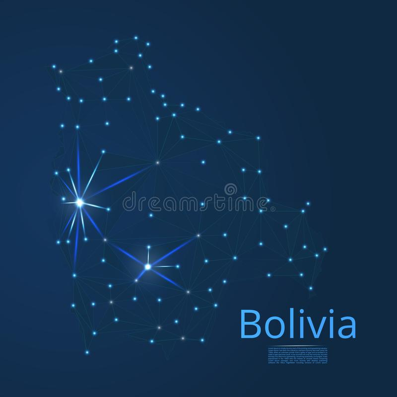 Bolivia communication network map. Vector low poly image of a global map with lights in the form of cities stock illustration