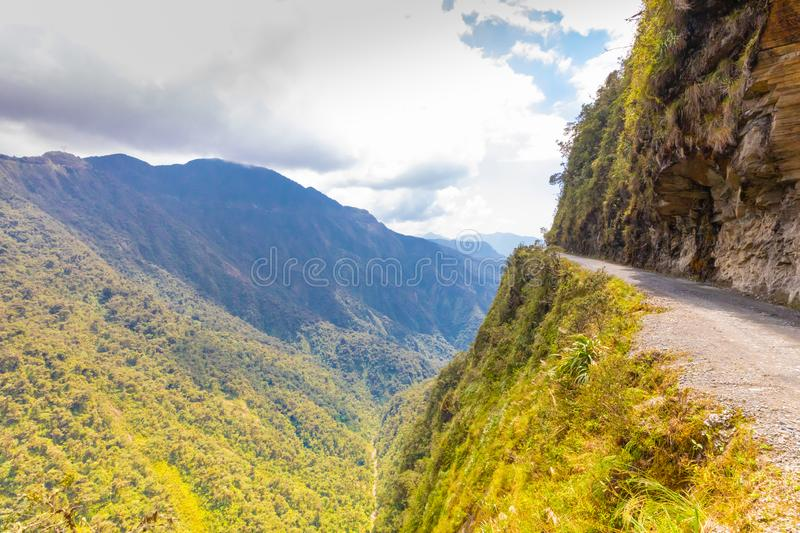 Bolivia death road with sun. Panoramic view of the valley stock photography