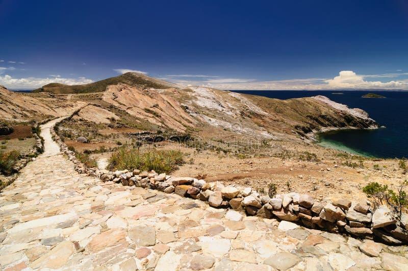 bolivia Del Inka isla jezioro rujnuje zolu titicaca zdjęcia stock