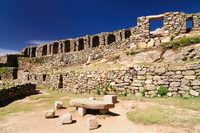 bolivia Del Inka isla jezioro rujnuje zolu titicaca zdjęcie royalty free
