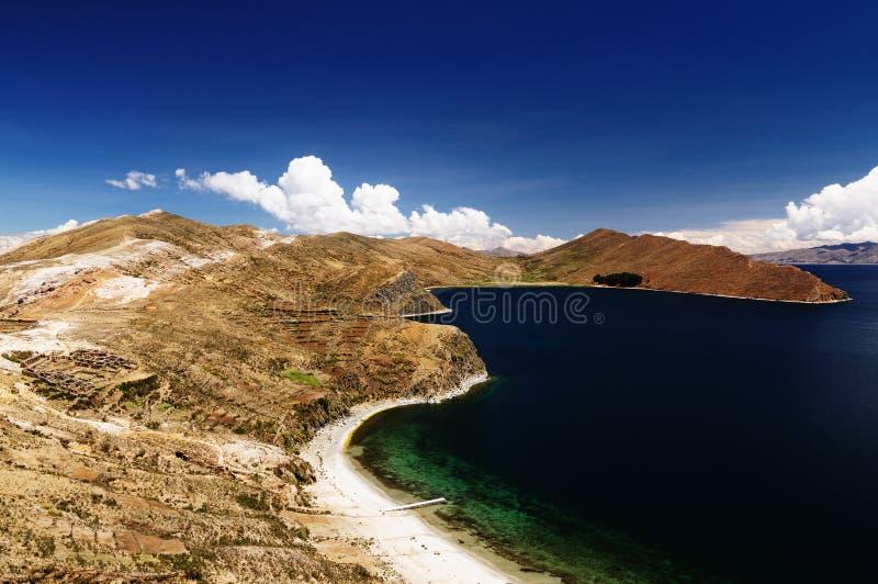 bolivia Del Isla jeziora krajobrazu zolu titicaca fotografia stock