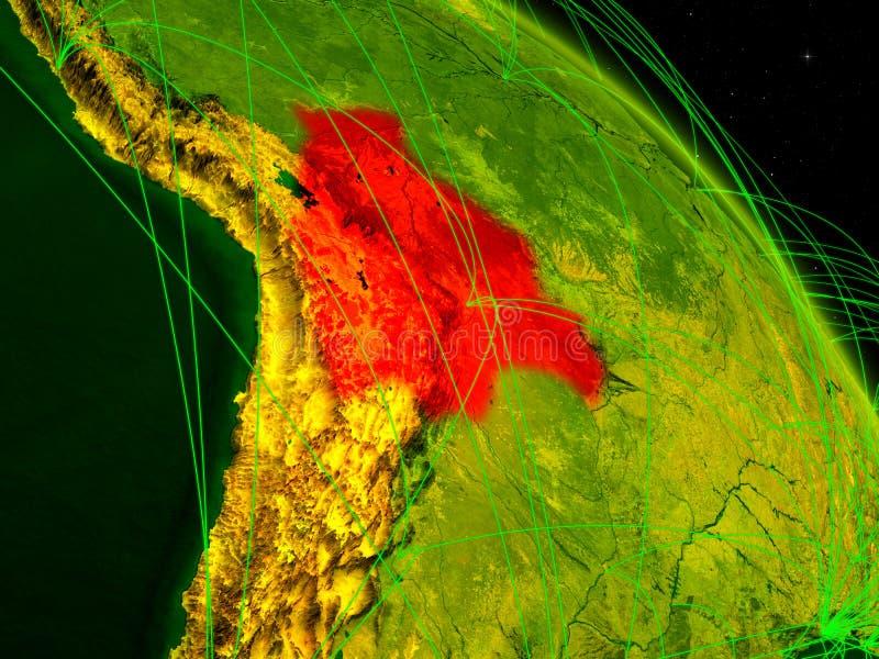 Bolivia en el globo digital ilustración del vector
