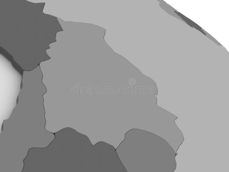 Bolivia on grey 3D map. Map of Bolivia on grey model of Earth. 3D illustration vector illustration