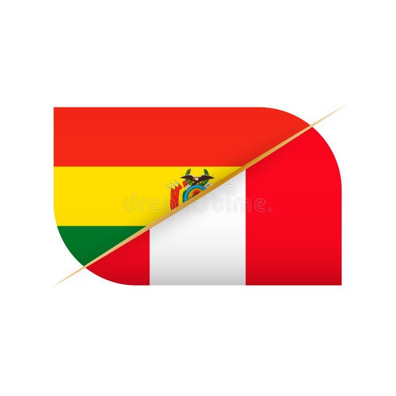 Bolivia kontra Peru, symbol för två vektorflaggor för sportkonkurrens royaltyfri illustrationer