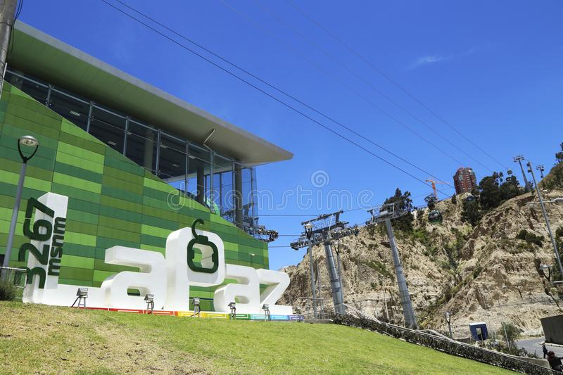 Green line station of La Paz Teleferico Cable car, Bolivia. BOLIVIA, LA PAZ, 12 FEBRUARY 2017 - Green line station of La Paz Teleferico Cable car system at 3267 royalty free stock images