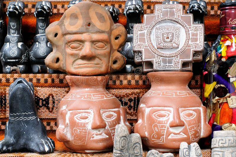 Bolivia, La Paz, Witches Market. Traditional talismans on the stall in the la paz for traditional Aymara rituals stock images