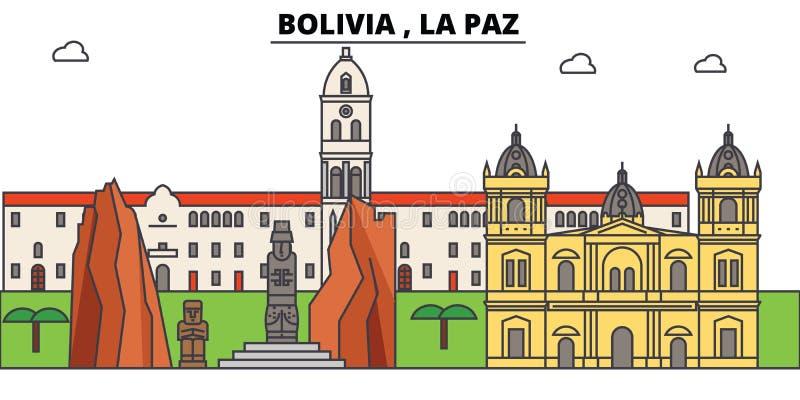 Bolivia LaPaz översiktshorisont, plan tunn linje symboler, gränsmärken, illustrationer för bolivian Bolivia LaPaz cityscape royaltyfri illustrationer