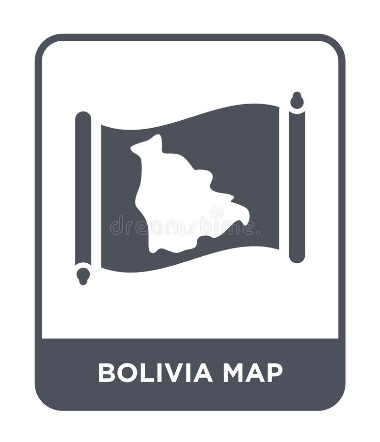 Bolivia map icon in trendy design style. bolivia map icon isolated on white background. bolivia map vector icon simple and modern. Flat symbol for web site royalty free illustration