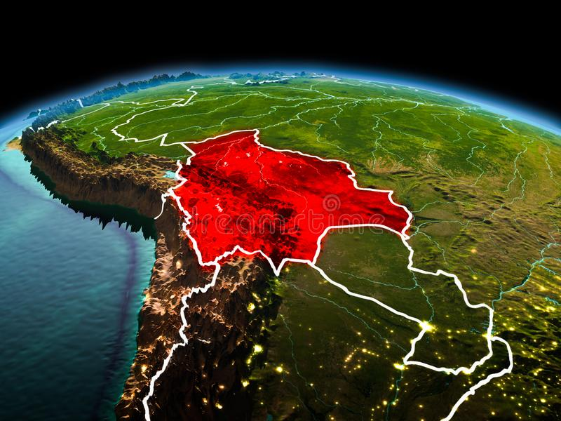 Bolivia on planet Earth in space. Morning above Bolivia highlighted in red on model of planet Earth in space with visible border lines and city lights. 3D royalty free stock images