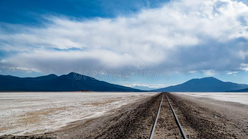 Bolivia Salt Flats Railway Line. Very much one of the main tourist attractions and points of interest in the area royalty free stock photos