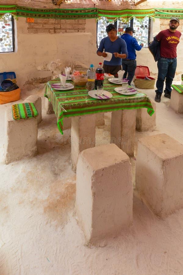 Bolivia salt restaurant in Salar of Uyuni stock photography