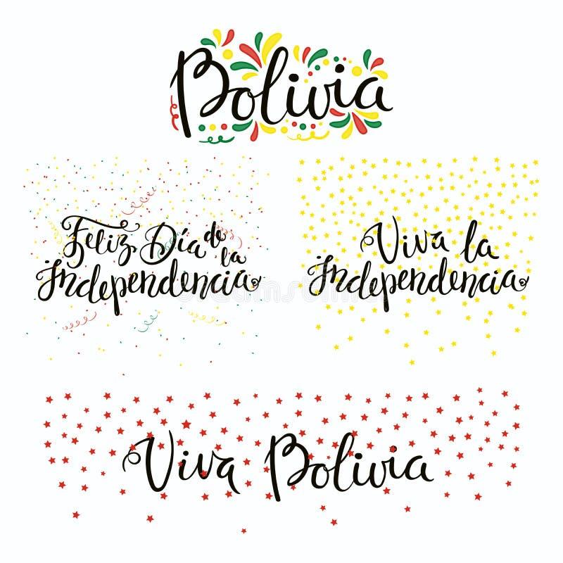 Bolivia självständighetsdagencitationstecken vektor illustrationer