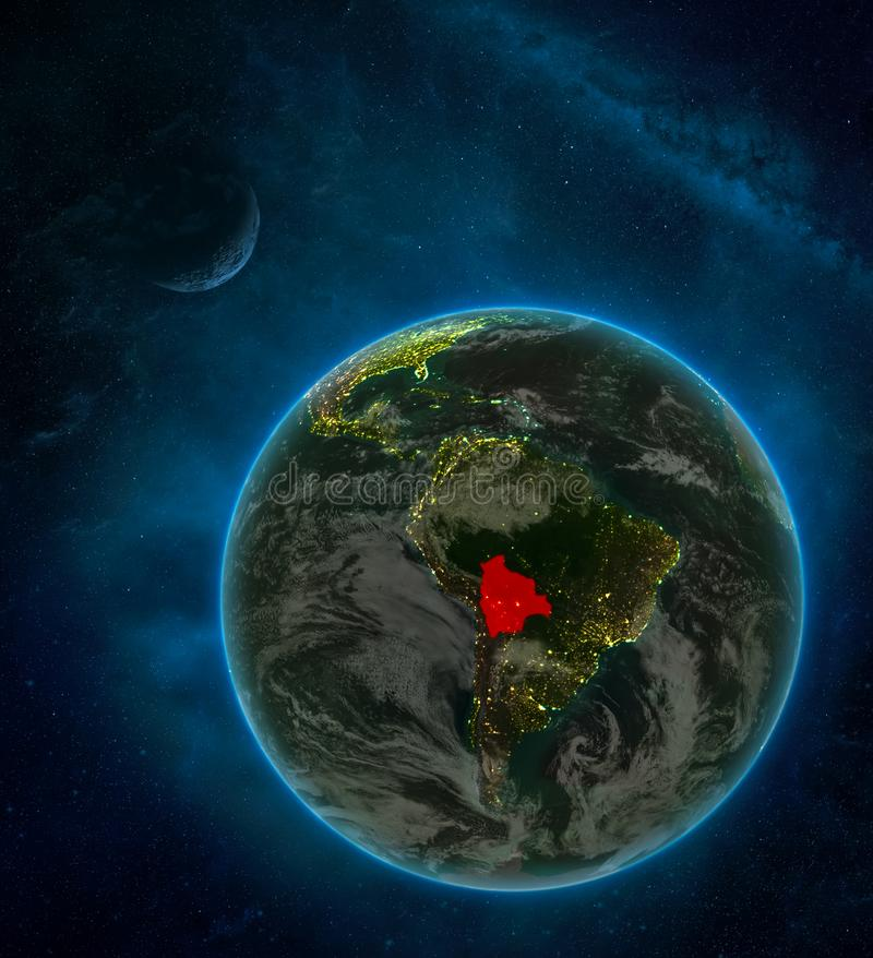 Bolivia from space on Earth at night surrounded by space with Moon and Milky Way. Detailed planet with city lights and clouds. 3D. Illustration. Elements of vector illustration