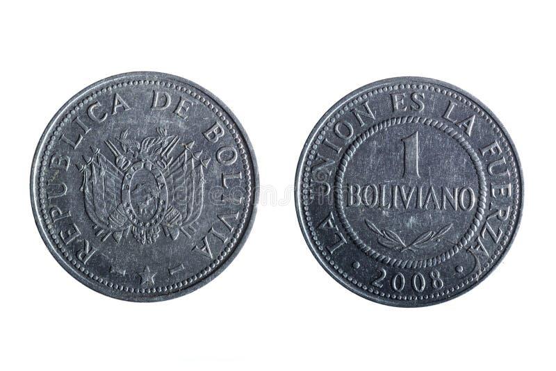 Boliviaans pesomuntstuk royalty-vrije stock afbeeldingen