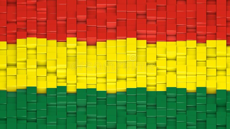 Bolivian civil flag made of cubes in a random pattern royalty free illustration