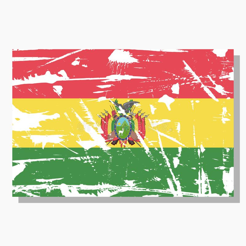 Bolivian flag with scratches, vector flag of Bolivia. royalty free illustration