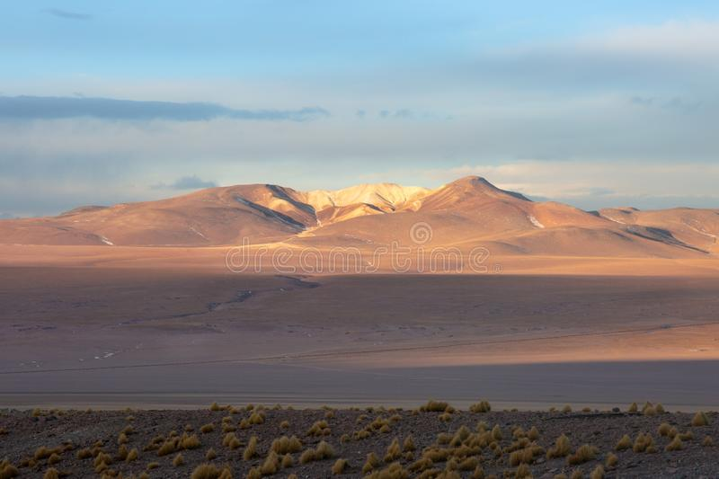 Bolivian landscape in the Andes mountains stock photos
