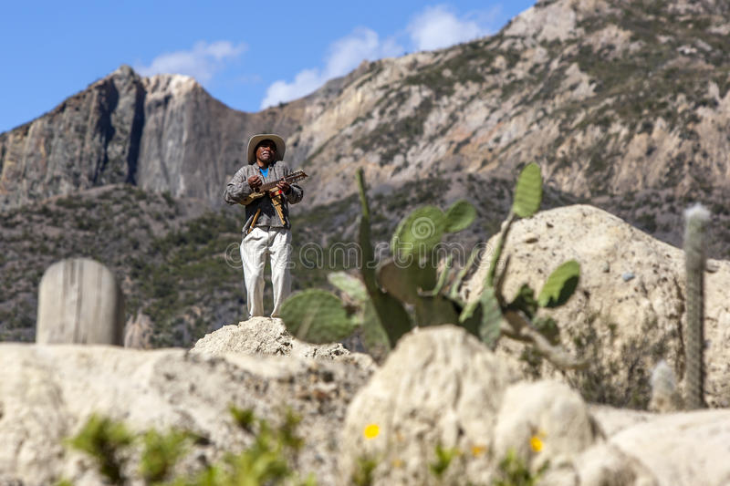 A Bolivian musician performs for tourists at Moon Valley in La Paz in Bolivia. The unusual formations occured after erosion wore away the clay soil on a stock photo