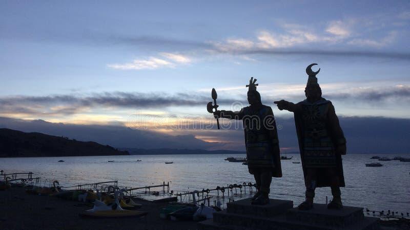 Aymaran statues on lake titicaca, bolivia stock photos