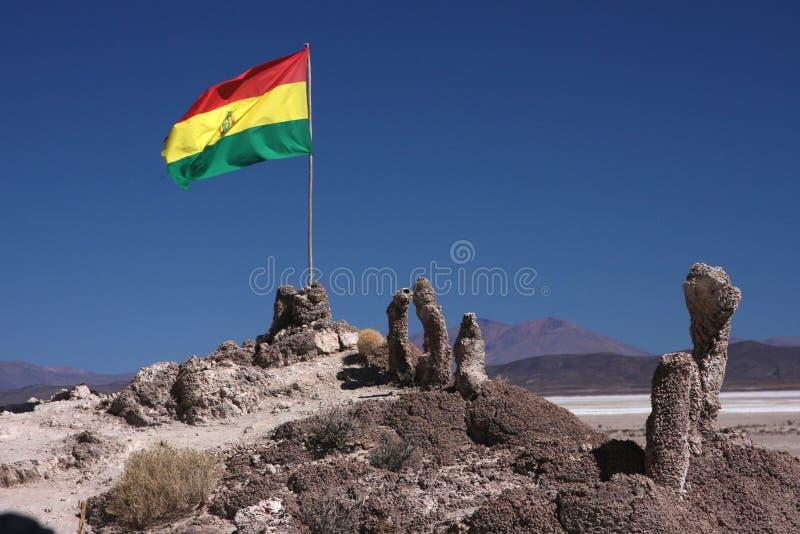 Bolivianische Markierungsfahne auf Stromatolite Insel stockfotografie