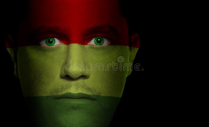 Bolivianische Markierungsfahne - männliches Gesicht stockfotografie