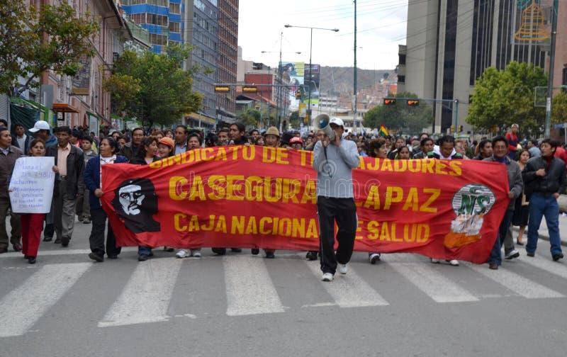 Bolivianische Protestors stockfotos