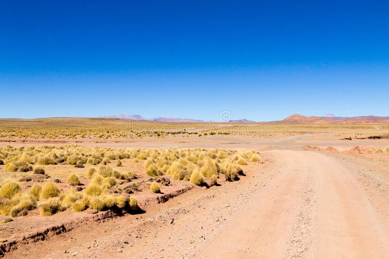 Bolivianische Schotterwegansicht, Bolivien lizenzfreies stockbild