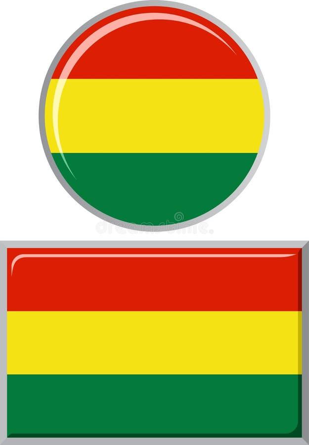 Boliviano alrededor y bandera cuadrada del icono Vector ilustración del vector