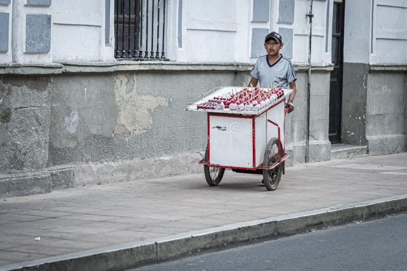 Bolivianska barn som säljer läckra röda godisäpplen arkivbild