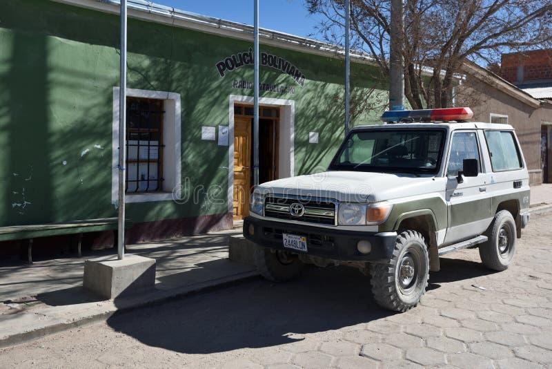 Boliwijski Milicyjny biuro i samochód obrazy stock