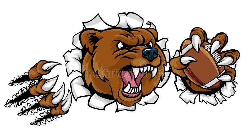 Boll för amerikansk fotboll för björn som bryter bakgrund royaltyfri illustrationer