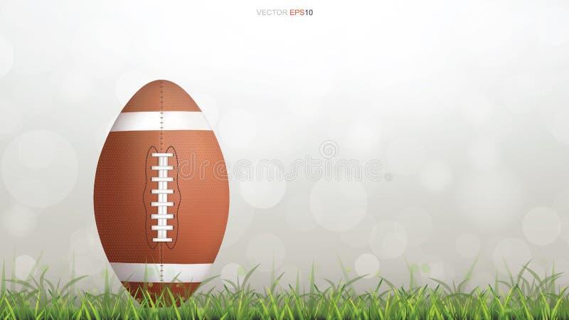 Boll för amerikansk fotboll eller boll för rugbyfotboll på grönt gräs vektor illustrationer
