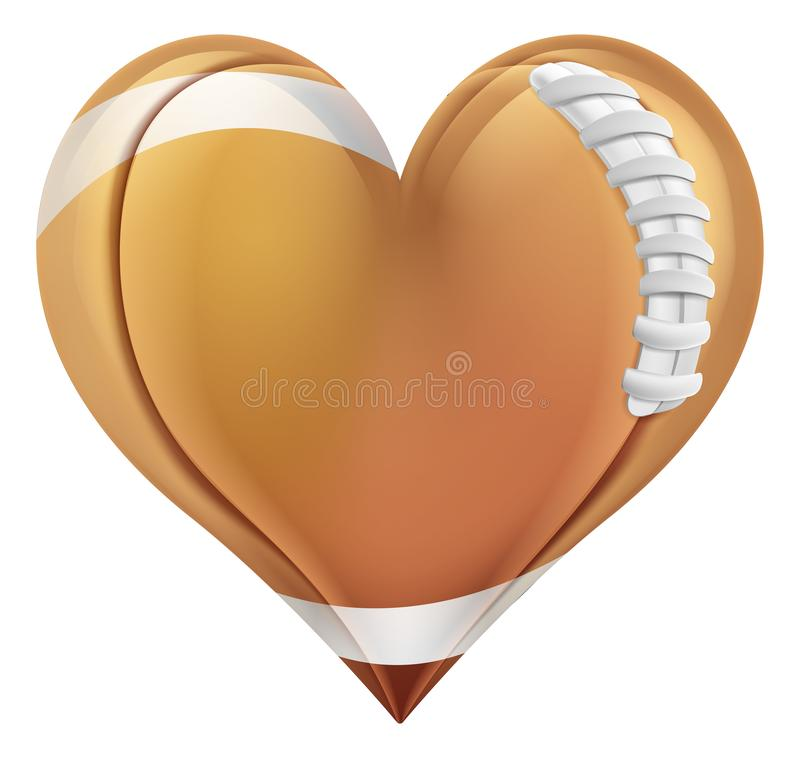 Boll för amerikansk fotboll i en hjärta Shape vektor illustrationer