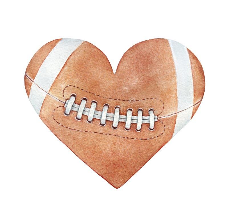Boll för amerikansk fotboll i hjärtakontur royaltyfri illustrationer