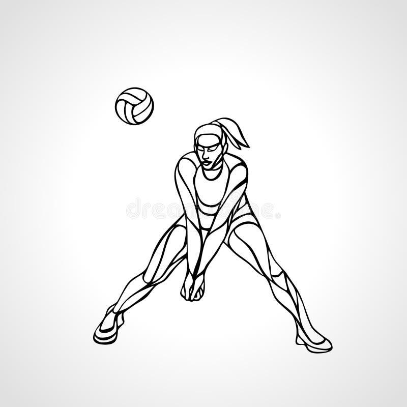 Boll för bortgång för kontur för kvinnavolleybollspelare vektor illustrationer
