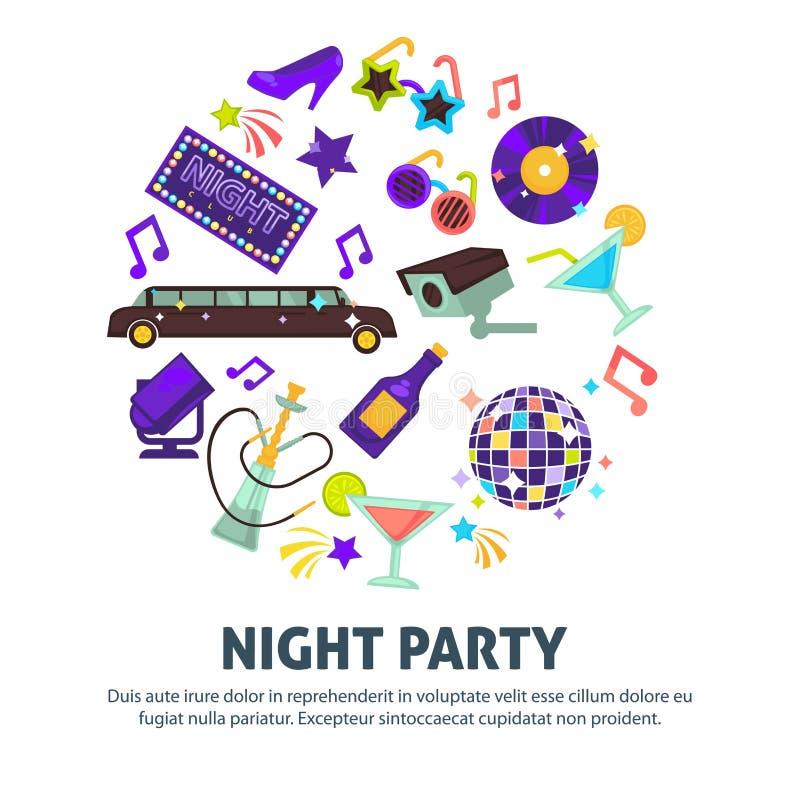 Boll för disko för klubba för nattpartidans och limousinevattenpipa royaltyfri illustrationer
