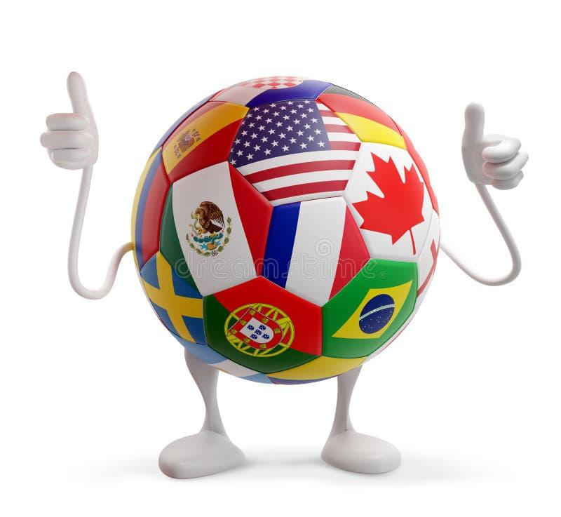 Boll för fotboll för USA Kanada Mexico designfotboll med flaggor av USA Kanada Mexico och olika andra 3d-illustration vektor illustrationer