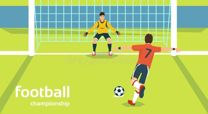 Boll för spark för spelare för portar för fotbollsmatchmålvakt skyddande stock illustrationer