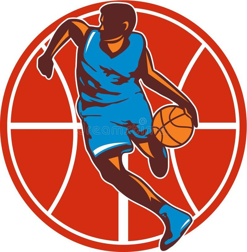 Boll Front Retro för dribbling för basketspelare stock illustrationer