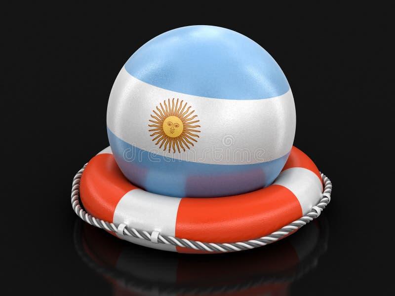 Boll med den argentinska flaggan på livboj vektor illustrationer