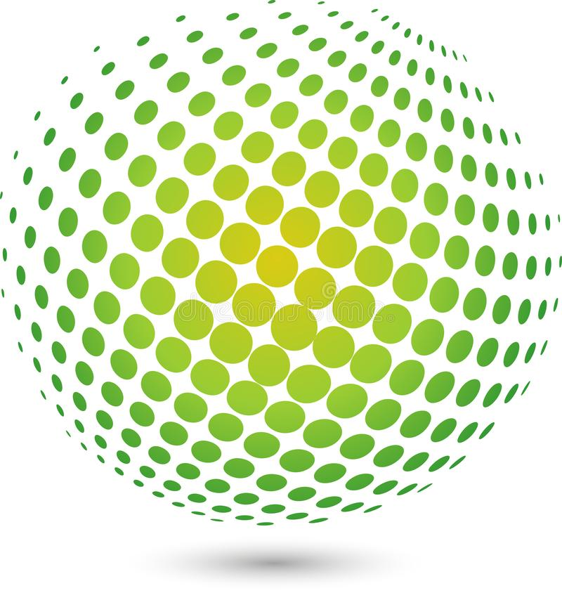 Boll och jordboll, teknologilogo och symbol, jordboll och jordklotlogo vektor illustrationer