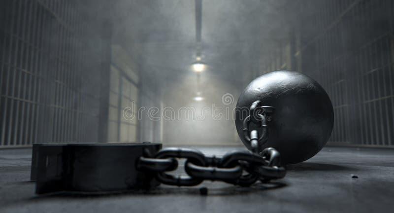 Boll och kedja i fängelse arkivbild