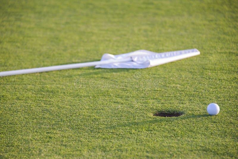 Boll på gräsplan av golfbanan royaltyfria foton