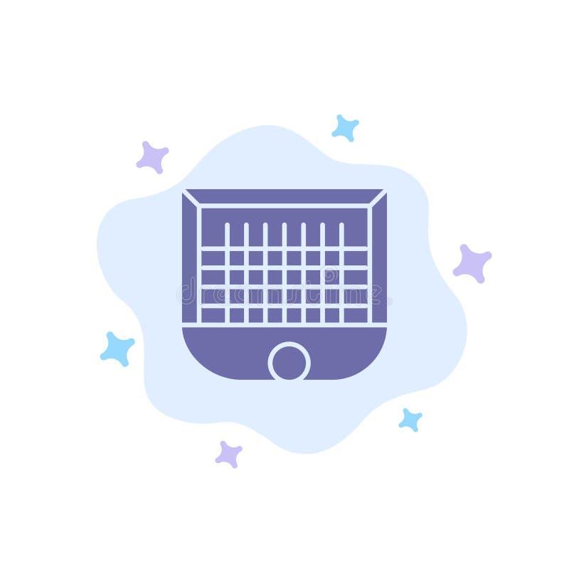Boll port, målstolpe som är netto, blå symbol för fotboll på abstrakt molnbakgrund stock illustrationer