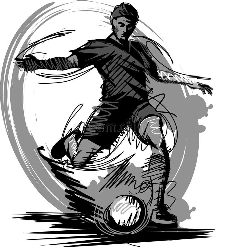 boll som stöd vektorn för spelaresilhouettefotboll royaltyfri illustrationer