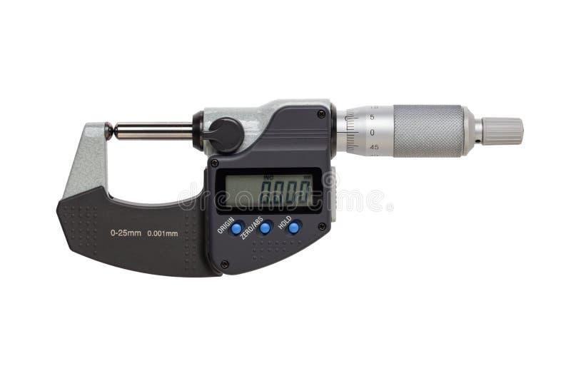 Boll-st?d digital mikrometer 0-25mm bakgrund isolerad white royaltyfri fotografi