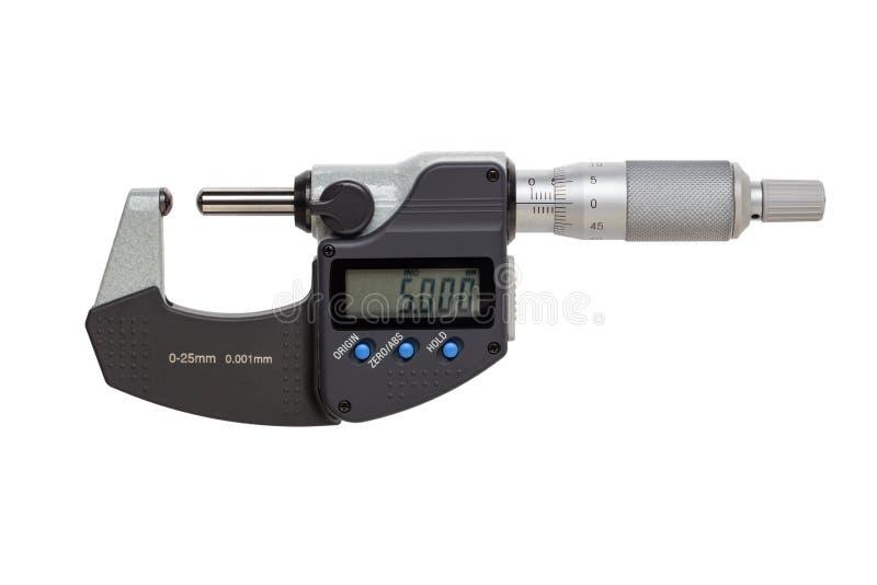 Boll-st?d digital mikrometer 0-25mm bakgrund isolerad white arkivfoton