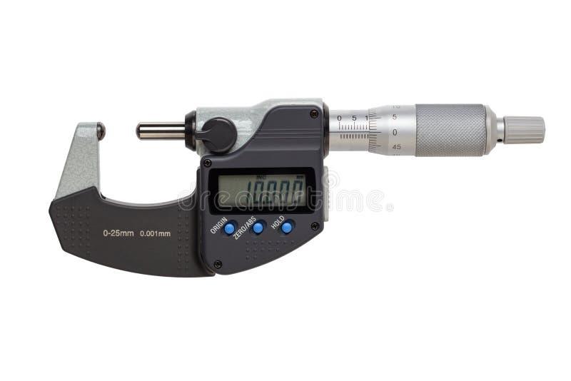 Boll-st?d digital mikrometer 0-25mm bakgrund isolerad white royaltyfria foton
